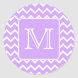 Purple and White Chevron Design. Custom Monogram. Stickers