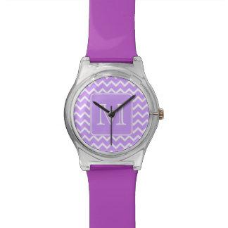 Purple and White Chevron Design. Custom Monogram. Watch