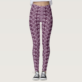 Purple and White Chevron Pattern Leggings