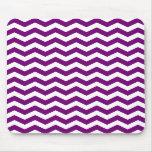 Purple and White Chevron Stripes Mousepads