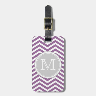 Purple and White Chevron with Monogram Luggage Tag