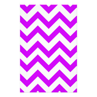 Purple And White Chevrons Stationery Design