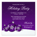 Purple and White Christmas Ornaments Holiday Party Personalized Announcements
