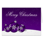 Purple and White Christmas Snowflake Ornaments Greeting Card