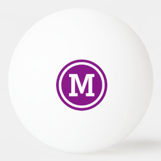 Purple and White Circle Monogram Ping Pong Ball