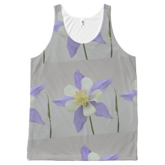 Purple and White Columbine All-Over Print Tank Top