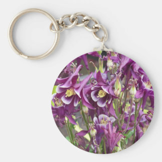 Purple and White Columbines Keychain