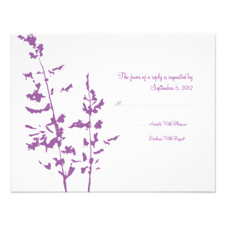 Purple and White Country Floral Wedding RSVP Custom Invites