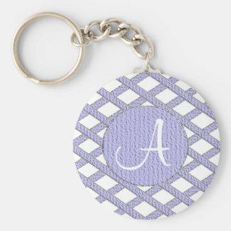 Purple and white crisscross monogram keychain basic round button keychain
