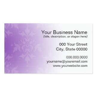 Purple and White Damask Business Card Template
