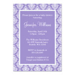 Purple and White Damask Girl Baby Shower
