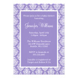 Purple and White Damask Girl Baby Shower Announcements
