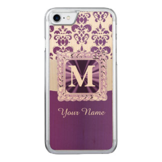Purple and white damask monogram carved iPhone 8/7 case