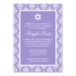 Purple and White Damask Star of David Bat Mitzvah 13 Cm X 18 Cm Invitation Card
