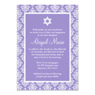 Purple and White Damask Star of David Bat Mitzvah 13 Cm X 18 Cm Invitation Card