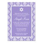 Purple and White Damask Star of David Bat Mitzvah Personalised Invites