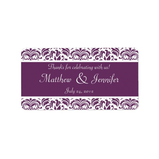 Purple and White Damask Wedding Favour Labels