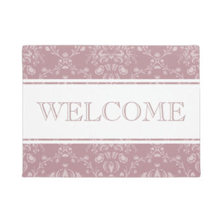 Purple and White Damask Welcome Doormat