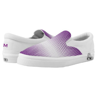 Purple and White Dots Zipz Slip On Shoe Printed Shoes
