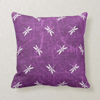 Purple and White Dragonfly Pillow