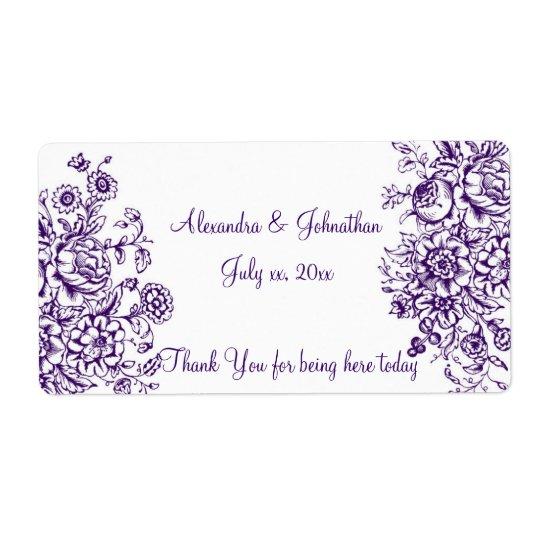 Purple and White Elegant Wedding Wine/Water Label
