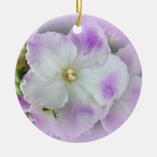 Purple and White Fancy African Violets Christmas Ornament