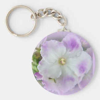 Purple and White Fancy African Violets Keychain