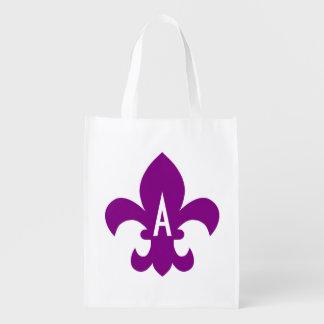 Purple and White Fleur de Lis Monogram
