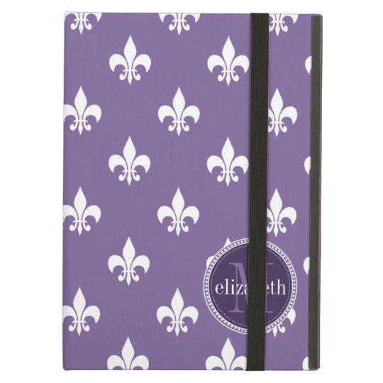 Purple and White Fleur de Lis Monogram Cover