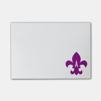 Purple and White Fleur de Lis Monogram Post-it Notes