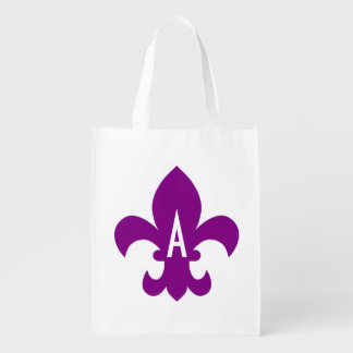 Purple and White Fleur de Lis Monogram Reusable Grocery Bag