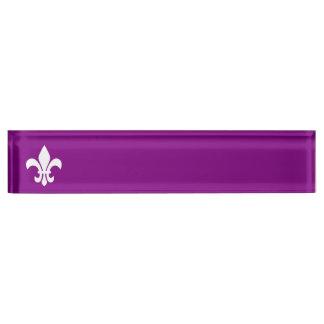 Purple and White Fleur de Lys Name Plate