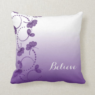 Purple and White Floral Believe in Yourself Throw Pillow