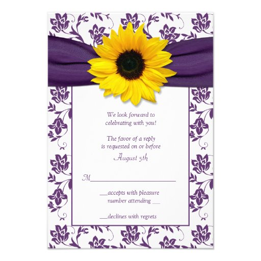 Purple and White Floral Damask Wedding Reply Card Invites