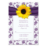Purple and White Floral Damask Wedding Reply Card Personalised Invitations