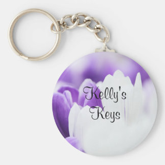 Purple and White Floral Keychain