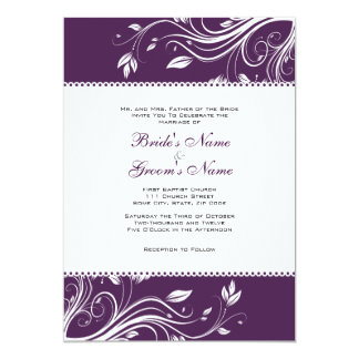 Purple and White Floral Swirls Wedding Invitation