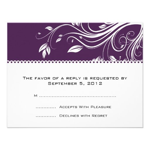 Purple and White Floral Swirls Wedding RSVP Personalized Announcement