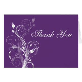 Purple and White Floral Thank You Note Card 2
