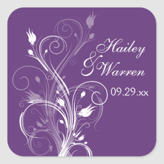 Purple and White Floral Wedding Favor Sticker 2