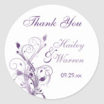 Purple and White Floral Wedding Favour Sticker