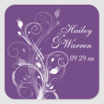 Purple and White Floral Wedding Favour Sticker 2