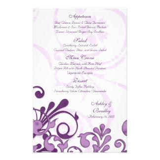 Purple and White Floral Wedding Menu Card 14 Cm X 21.5 Cm Flyer