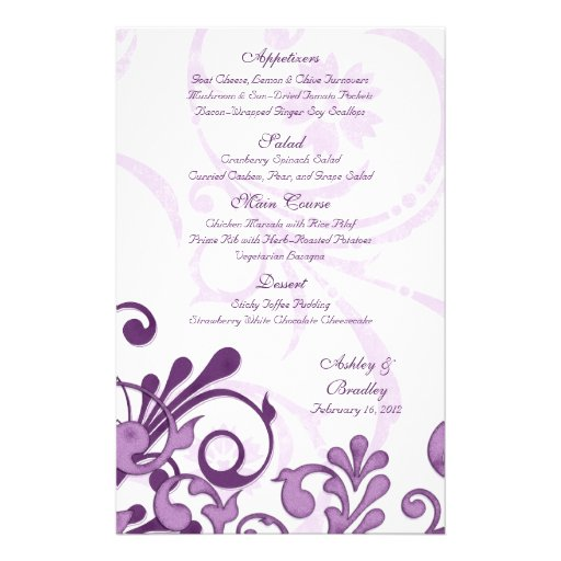 Purple and White Floral Wedding Menu Card Personalized Flyer