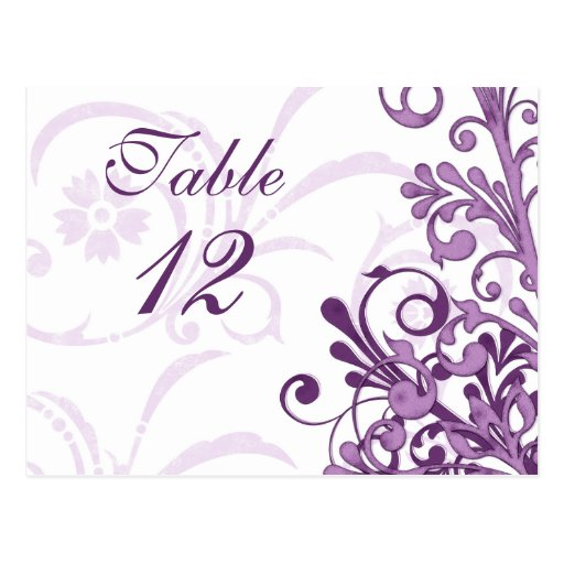 Purple and White Floral Wedding Table Cards Postcard