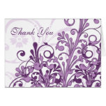 Purple and White Floral Wedding Thank You Card