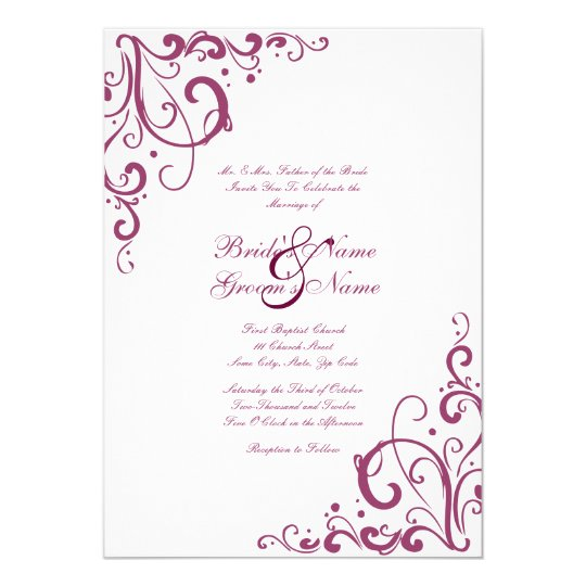 Purple and White Flourish Wedding Invitation
