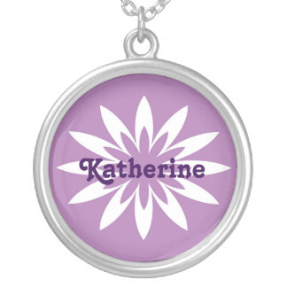 Purple and white flower monogram necklace round pendant necklace