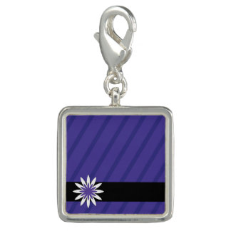 Purple and white flower stripes charm