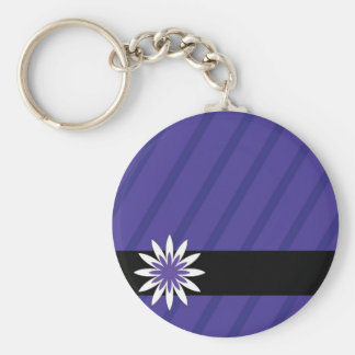 Purple and white flower stripes keychain